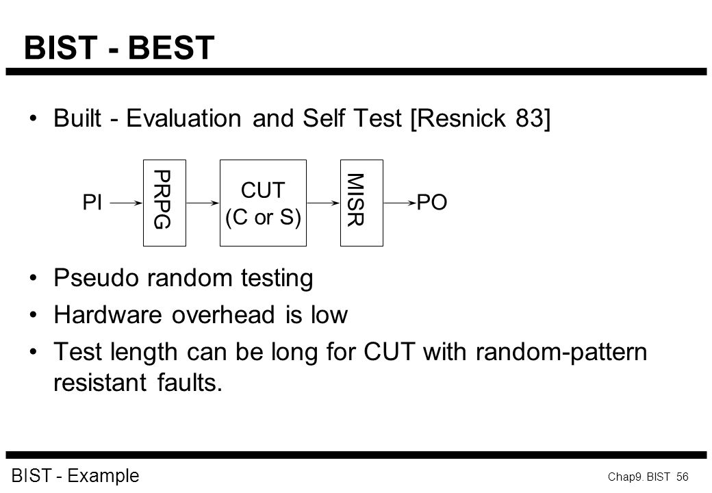 BIST - BEST Built - Evaluation and Self Test [Resnick 83]